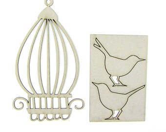 Chipboard Birds with Birdcage 03