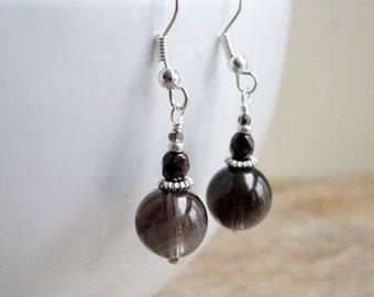 Smoky quartz - sterling silver - quartz earrings - beaded earrings - bronze bead earrings - dangle earrings - brown and silver
