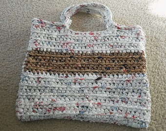 Tote made from recycled plastic bags (plarn)