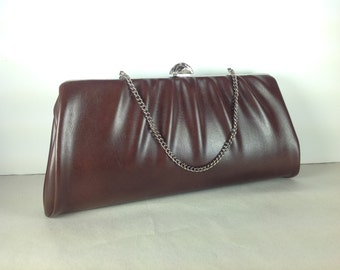 Vintage Brown Clutch Purse Handbag Chain Strap