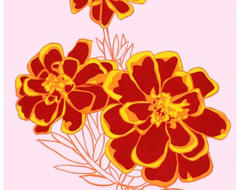October Marigolds: Flower print 8x10