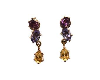 Multi Gemstone Earrings, Citrine Earrings, Amethyst Earrings, Pink Tourmaline Earrings, Gold Earrings, Gold Multi Stone Earrings, Drop Studs