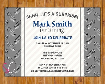 Surprise Retirement Invite Masculine Silver Navy Blue 40th 50th 60th Birthday Invitation for Guy Printable 5x7 Digital JPG File (568)