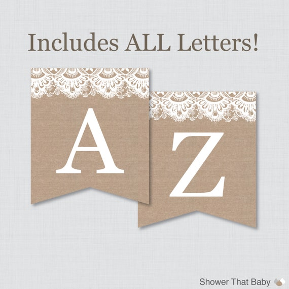 burlap and lace banner with all letters printable instant