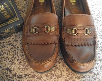 Vintage Drexlite Women's Brown leather fringe Loafers ~ Size 9