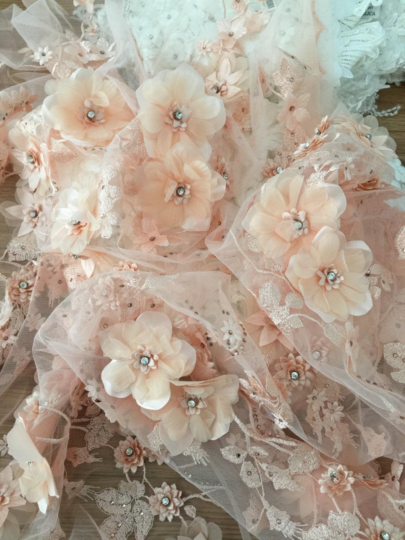Peach 3d Lace Fabric Luxury3d Flowers Applique Wedding