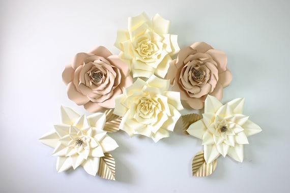 Paper Flower Set 6 Large White Paper Flowers 14 Birthday