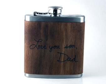 Keepsake (memorial) real wood Flask- Your personal handwritten message, wood wrapped flask - Great gift for son, new dad, or memorial gift