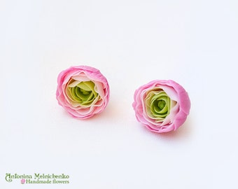 Earrings Ranunculus - Polymer Clay Flowers