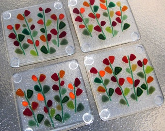 Fused Glass Coasters, Blooming Branches in Red, Floral Red Coasters, Mothers Day Glass Gift, Glass Coasters with Flowers