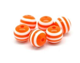 10 striped beads 10mm Orange resin set