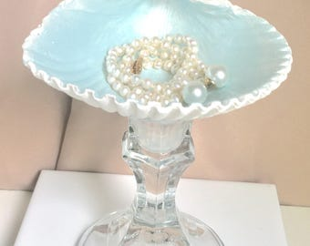 Jewelry dish display - seafoam pearl shell & cut glass crystal pedestal stand Bridesmaids gift, Beach decor coastal, necklaces, ring display