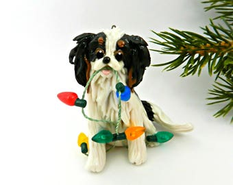 Cavalier King Charles Spaniel TriColor PORCELAIN Christmas Ornament Figurine Clay