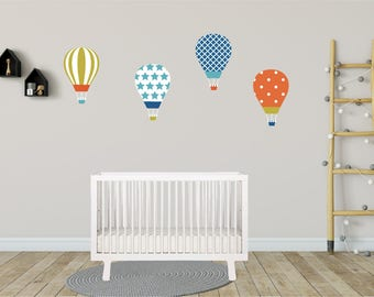Hot Air Balloon Wall Decals, Wall Decal Nursery, Balloon Wall Decal, Kids Wall Decal, Wall Stickers, REMOVABLE & REUSABLE