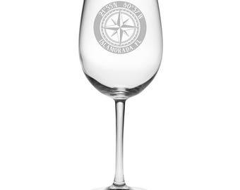 Custom Coordinates Compass Rose All Purpose Wine Glasses S/4, Latitude Longitude Glassware