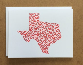 Texas Valentine - Texas Card - Texas Love - Greeting Card - Texas Heart - Texas Wedding- Texas Bride -  Valentine's Day