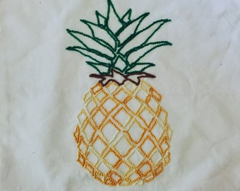 Pineapple Hande Embroidered Cushion Cover. Free AU Shipping.