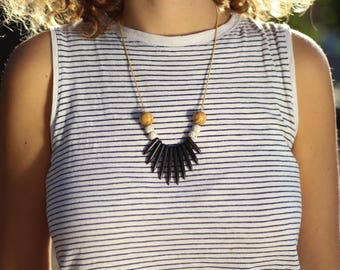 statement necklace, black beaded necklace, beads necklace, gift for her, colorful necklace, statement jewelry, beaded jewelry, black jewelry
