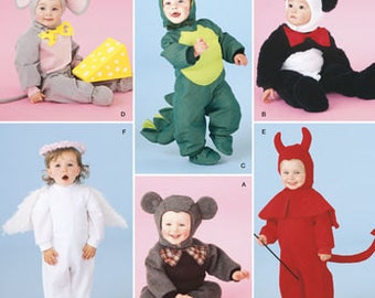 Sewing Pattern Toddler Costumes, Simplicity 2506, Dragon Costume, Mouse, Dinosaur, Angel, Devil, Bear Costumes