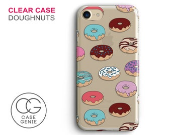 Doughnuts Clear Phone Case for iPhone X, 8 Plus, 7, 6, 6s Cell Phone Cover Clear and Frosted Transparent