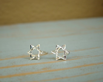 Star of David Earrings, Bat Mitzvah Gift Star of David Earring Studs, Sterling Silver, Jewish Jewelry