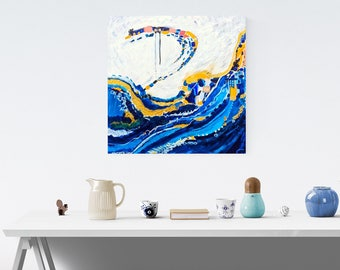 Blue original painting, Mid Century Modern Retro, Dark Blue Painting, gold abstract, 24 x 24 inches, gold leaf, nautical abstract artwork