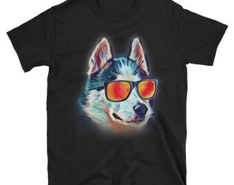 Siberian Husky Shirt, Siberian Husky, Husky Sunglasses, Neon Dog Shirt, Siberian Husky Gift, Husky Mom, Husky Dad, Husky Gift, Husky Tshirt