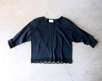 Vintage 80s Ribbed Knit Top Black Tee Long Sleeve Minimal Shirt Eyelet Hooks Rib Modern Cropped Boxy Shirt Womens OS XL