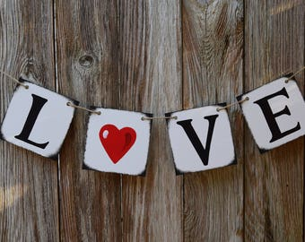 VALENTINES DAY Decor Love Valentines Banner Garland XOXO Sign Heart Rustic