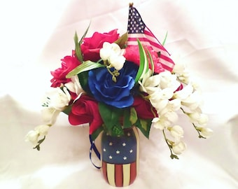 American flag flower etsy old glory silk floral arrangement red white blue flowers in american flag mason jar centerpiece large unique gift primitive mightylinksfo