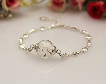 16MM Glass Bulb Dandelion Seed Bracelets,Glass Ball Bracelets,glass globe Bracelets,Globe Ball Good Luck Bracelets GGJ-GJB-004