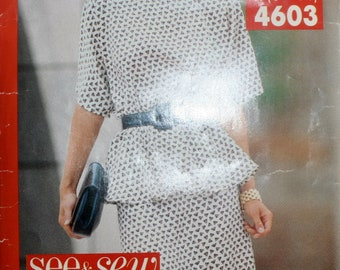 Misses  Skirt Sewing Pattern - Misses Blouse Sewing Pattern- Misses Top Sewing Pattern - Butterick 4603 -  Size  6 - 8 - 10 - 12 - 14