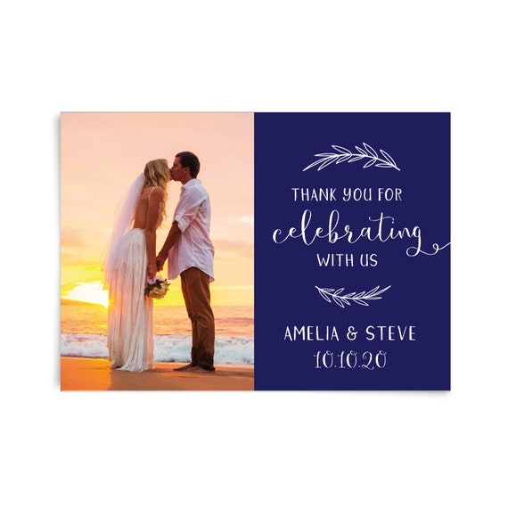 Personalised thank you cards, Printable thank you card wedding, Modern thank you card, Custom photo thank you card, Post card thank you