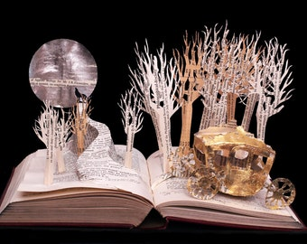 The Golden Carriage - 5x7 greeting card of an altered book sculpture fairytale