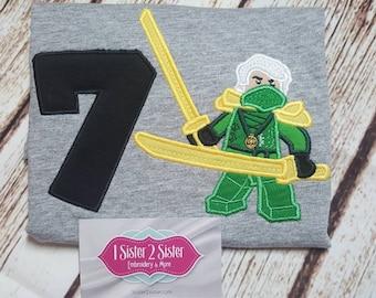 Green ninja - yellow sword - birthday shirt