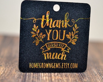 Glitter Metallic Gold Thank You So Much Hang Tags - Gift Tags - Packaging - Shinny - Wedding
