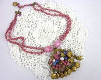 Vintage Miriam Haskell esque Necklace, Oversized Pendant, Pink Beads