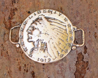 Sterling Silver Coin Link, Indian Head 5 Dollar Gold Piece Reproduction