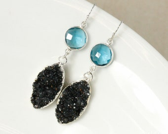 50% OFF SALE - Silver London Blue Quartz & Agate Druzy Leaf Dangle Earrings - 925 Silver, Black Geode Earrings, Violet Black Druzy