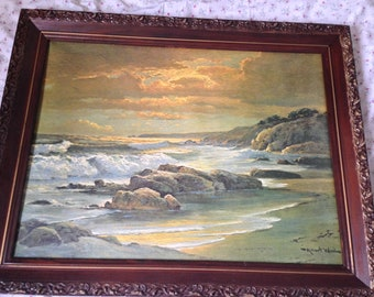 """Flash Sale- Robert Wood """"Sunset Shore"""" Large Oil on Canvas Reproduction in Antique Frame"""