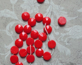 Vintage Nailheads - 8mm Sew On Glass Beads In Cherry Red  (24 pc)