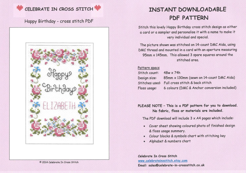 PDF Happy Birthday cross stitch chart download
