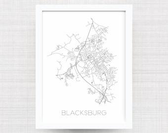 BLACKSBURG VIRGINIA City Limit Map Print - Blacksburg Art Poster - Blacksburg Map - Print - Home Decor - Office Decor - Virginia Tech Gift
