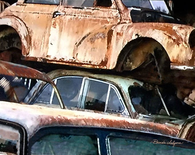 Old Cars in Junk Yard, Chevrolet, Ford, Dodge, Fine Art Print on Canvas or Paper, by artist Brenda Salyers