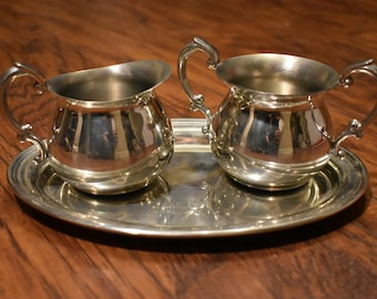 Empire pewter cream and sugar set with tray