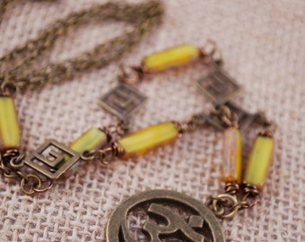 Ohm yoga necklace,  spiritual necklace, amulet jewelry, Christmas gift idea, Estibela design.