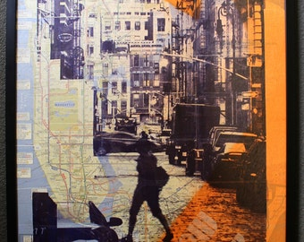 Kevin Marcell Original  Manhattan NY Modern Silkscreen Stencil Mixed Media Graphic Art Painting NYC Cycling Map Soho Lady Signed Dated