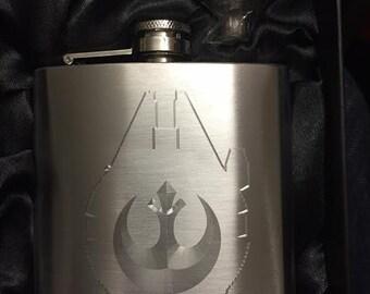 STAR WARS Millennium Falcon HIPFLASK Rebel Alliance Logo Stainless Steel 6 oz hip flask