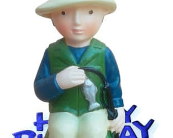 Resin Fishing Cake Topper Happy Birthday Sign Motto Decoration