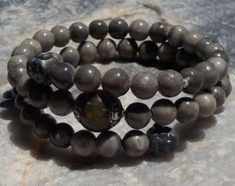 Black Fossil Jasper Mala Bracelet- prayer beads- gray / grey - 54 beads